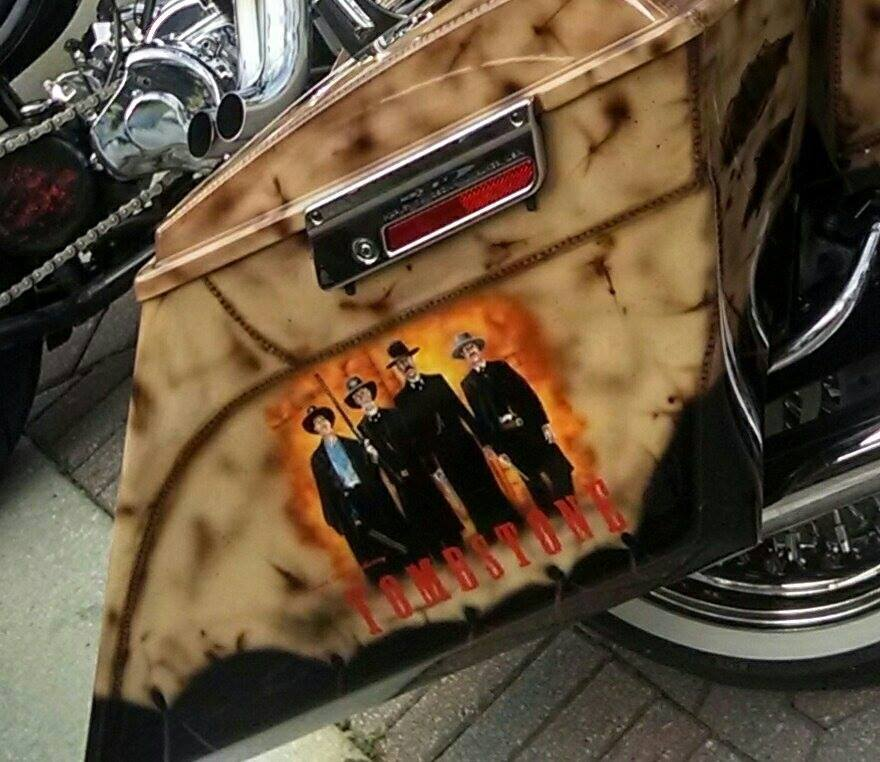 Tombstone Crew on the motorcycle side bag